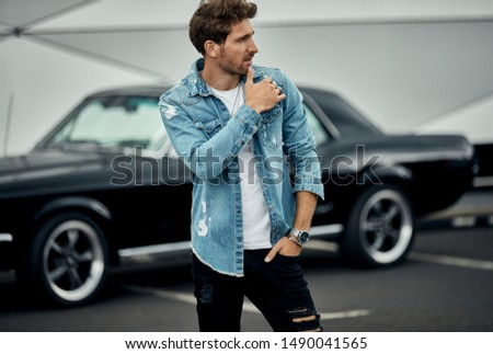 Handsome man with black classic car wear smart casual  #1490041565