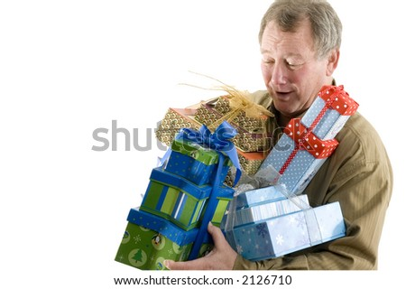 handsome man with gift wrapped presents smiling winking