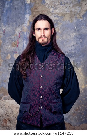 Handsome man with long hair