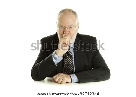 Handsome mature business man is thinking on white background