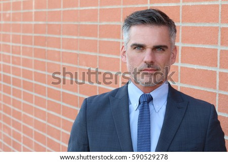 Handsome mature Caucasian businessman isolated with copy space Stock photo ©