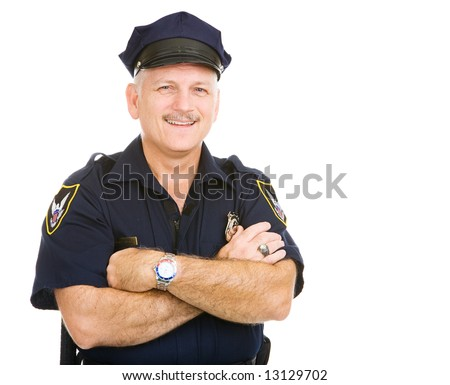 stock photo : Handsome mature police officer smiling in his uniform.