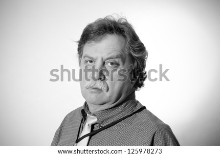 Handsome middle age business man, black and white
