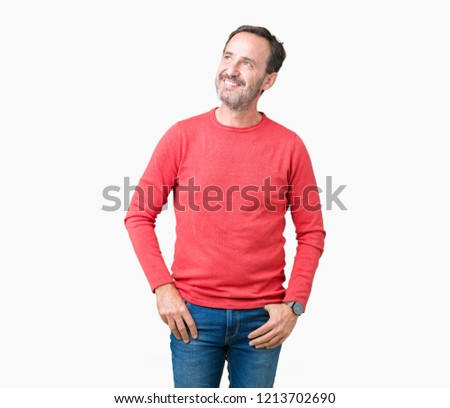 Handsome middle age hoary senior man wearing winter sweater over isolated background smiling looking side and staring away thinking.