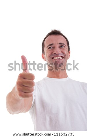 handsome middle-age man with thumb raised as a sign of success, isolated on white background. studio shot