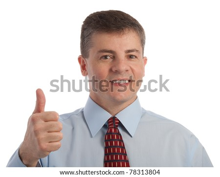 Handsome middle age successful businessman gives one thumb up