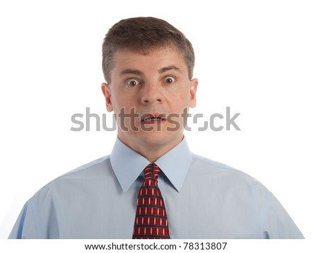 Handsome middle age successful businessman is shocked
