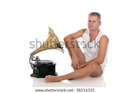 Antes fossem os meus audiófilos... Stock-photo-handsome-middle-aged-man-in-his-forties-with-antique-record-player-studio-white-background-38216335