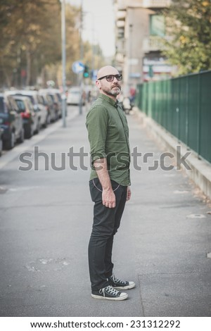 handsome middle aged man in the city