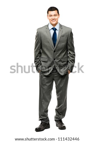 Handsome mixed race businessman standing full length isolated on white background