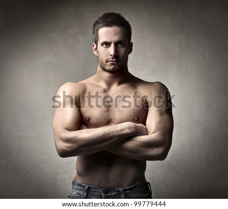 Handsome muscular bare-chested man