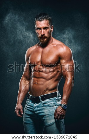Handsome Muscular Shirtless Men in Jeans