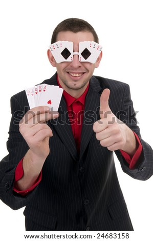 Handsome poker player with funny glasses androyal flush