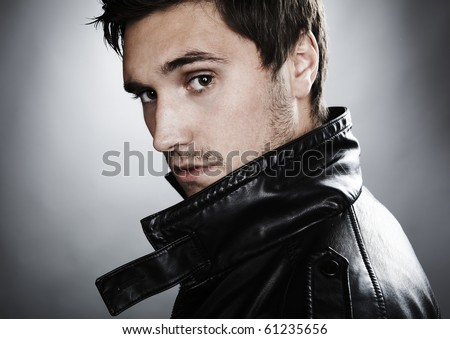 handsome profile smile portrait young man face detail closeup