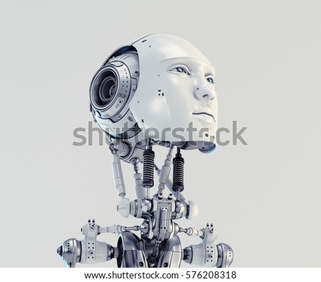 Handsome robotic man 3d render