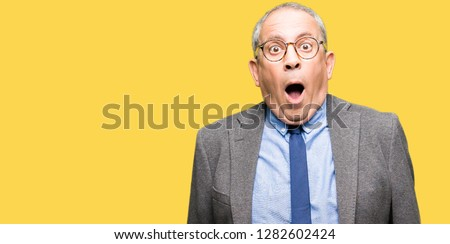 Handsome senior businesss man wearing glasses and tie afraid and shocked with surprise expression, fear and excited face. #1282602424