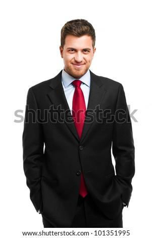 Handsome successful businessman isolated on white