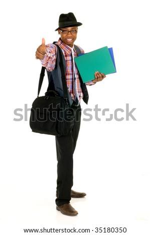 Handsome successful joyful African American black businessman, studio shot, white background