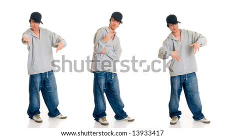 Handsome teenager boy, casual dressed, hip hop culture.  Studio shot, white background