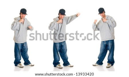Handsome teenager boy singer with cap, hip hop culture.  Studio shot, white background