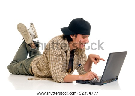 Handsome teenager boy student with laptop, casual dressed,  Studio shot, white background