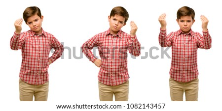 Handsome toddler child with green eyes angry gesturing typical italian gesture with hand, looking to camera #1082143457
