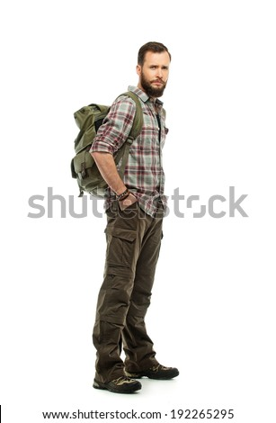 Handsome traveler with backpack isolated on white