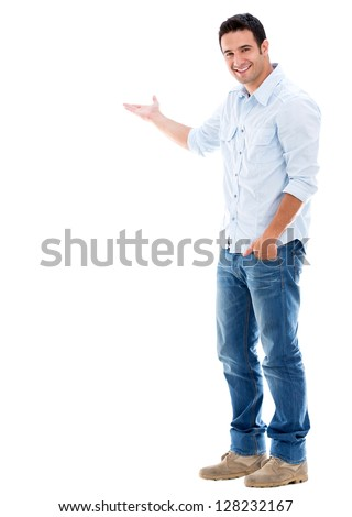 Handsome welcoming man smiling - isolated over a white background