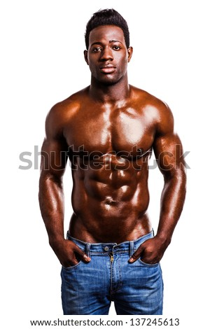 Handsome wet african muscular man isolated over white background.
