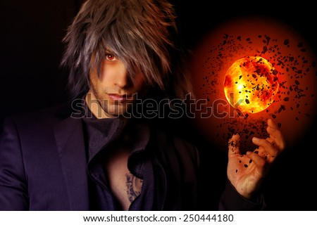 handsome Wizard with a fireball Сток-фото ©