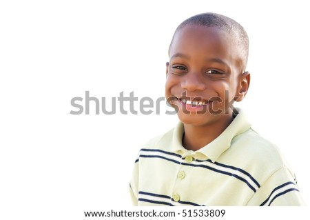 Handsome Young African American Boy Isolated on a White Background.