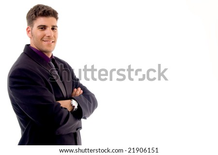 handsome young attorney against white background