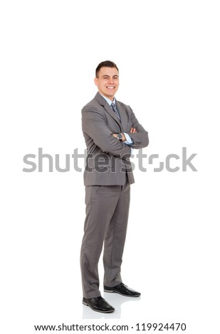 Handsome young business man happy smile, businessman with folded hands wear elegant gray suit and tie full length portrait isolated over white background