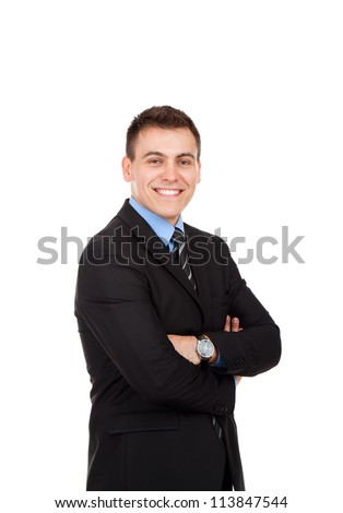 Handsome young business man happy smile, businessman with folded hands wear elegant suit and tie isolated over white background