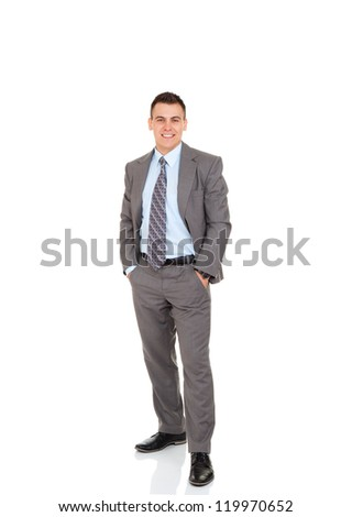 Handsome young business man happy smile, businessman with hands in pockets wear elegant gray suit and tie full length portrait isolated over white background