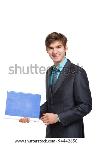 Handsome young business man happy smile, businessman with with blue folder wear elegant suit and tie isolated over white background