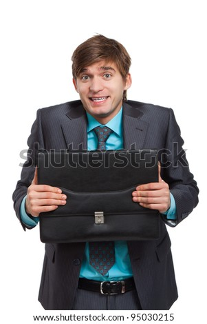 Handsome young business man happy smile, excited businessman hold briefcase make uncertain gesture, wear elegant suit and tie isolated over white background