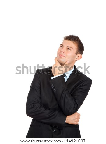 Handsome young business man happy smile look up to empty copy space, businessman think, idea, hold hand finger on chin wear elegant suit and tie isolated over white background