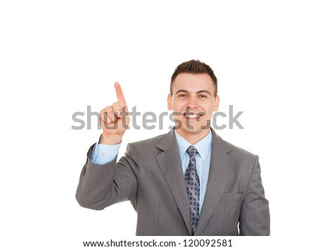 Handsome young business man happy smile point finger to empty copy space, businessman showing pointing side, concept of advertisement product, isolated over white background