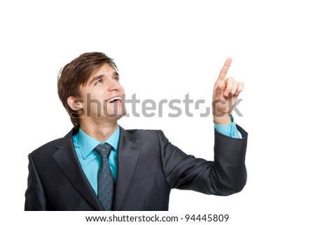 Handsome young business man happy smile point finger to empty copy space, businessman showing pointing up, concept of advertisement product, wear elegant suit and tie isolated over white background