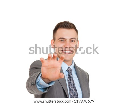 Handsome young business man hold empty hand happy smile, businessman showing something on the open palm, concept of advertisement product, copy space isolated over white background