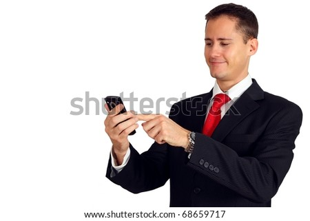 Handsome young business man navigating on his smartphone