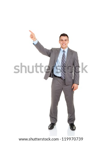 Handsome young business man point finger to empty copy space, businessman showing pointing side happy smile, concept of advertisement product, full length portrait isolated over white background