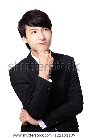 Handsome young business man think looking up to empty copy space isolated over white background, asian male model