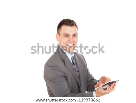 Handsome young business man using tablet computer happy smile, businessman with digital pad point finger to touch screen isolated over white background