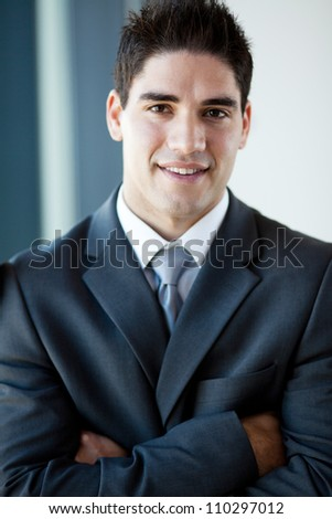 handsome young businessman closeup portrait