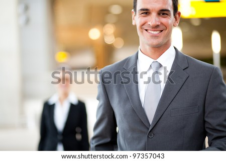 handsome young businessman portrait - stock photo