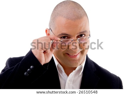 handsome young businessman posing  on an isolated background