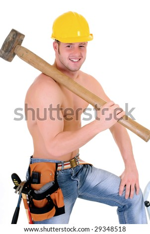 Handsome young construction worker with sledge hammer, studio shot,  white background