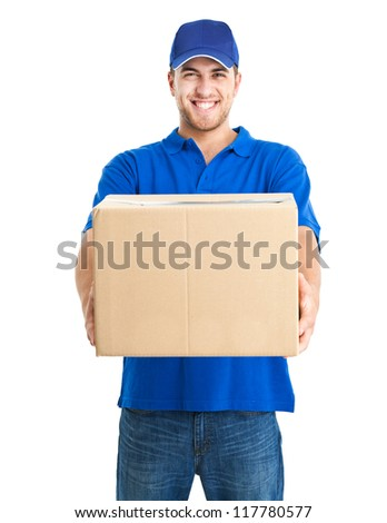 handsome young delivery man portrait isolated on white